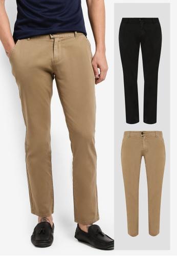 ZALORA black and brown 2 Pack Slim Fit Chino Button Tab Pants ZA819AA0RLXHMY_1