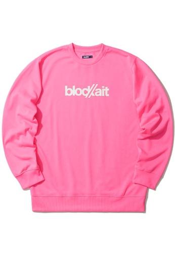 BLOCKAIT pink Logo print sweatshirt 38734AAA61A67EGS_1
