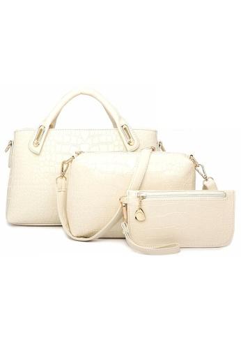 a65344237f46 Jackbox white Set of 3 Artificial Crocodile Leather Handbag Tote Bag 902  (White) JA762AC11KPSMY 1