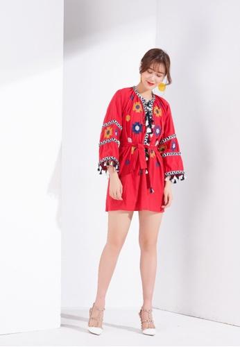Zafiti red V Neckline Tassel Embroidery Dress BEE9BAAD08E053GS_1