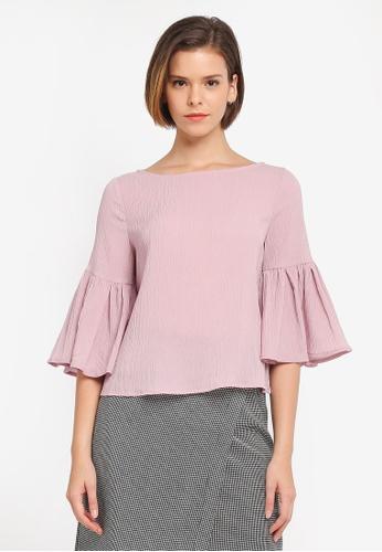 ZALORA pink Ruffle Sleeve Top 09B23AAA7F3997GS_1