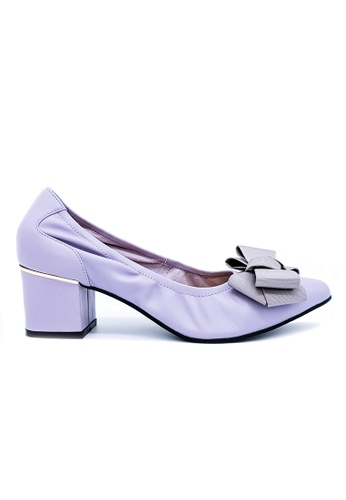 Toufie purple and gold Bow Mid Heel - Lilac Grey D0071SH6B37BA3GS_1