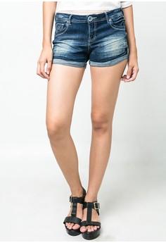 Fashion Sexy Shorts Denim Stretch with Folded Hem