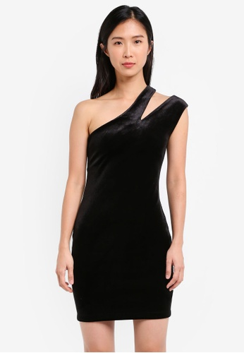 TOPSHOP black Splice Velvet One Shoulder Bodycon Dress TO412AA0SIWMMY_1