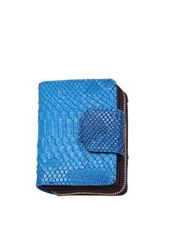 Twenty Eight Shoes blue VANSA Serpentine Pattern Embossed Cow Leather Bi-Fold Wallet VBW-Wt60303 63061AC7C0265DGS_1