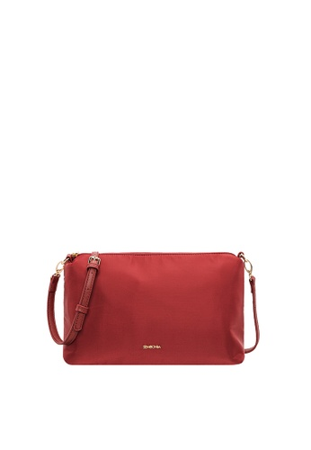 SEMBONIA red SEMBONIA Nylon Trimmed Synthetic Leather Bag 7DE22AC5C03188GS_1