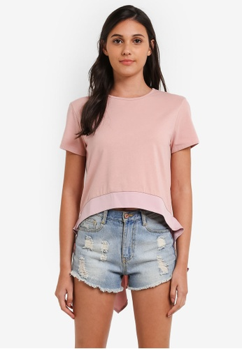 Something Borrowed pink Drape Detail Dip Hem Top 9900FAAC299275GS_1