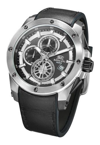 Roscani black Roscani Paul 988 (Chronograph + WR10ATM) Stainless Steel Black Leather Men Watch 36075ACAEC9E5BGS_1