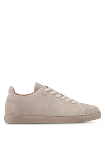 Selected Homme silver Shndavid Suede Sneaker 4CE7CSHC454AA1GS_1