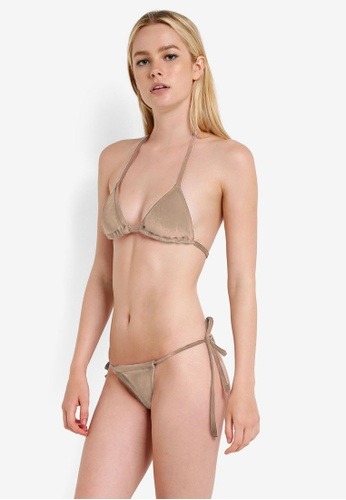 PINK N' PROPER beige Opulence Venus Velvet Bikini Set D161AUS4038E5DGS_1