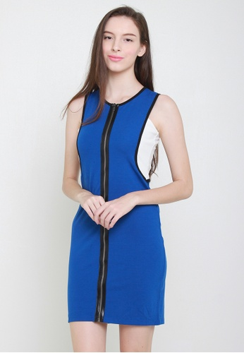 Leline Style white and blue Frida Zipper Dress 4EE3EAAA9F159EGS_1