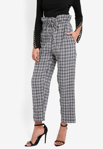 TOPSHOP blue Check Tie Waist Trousers TO412AA0SLD7MY_1