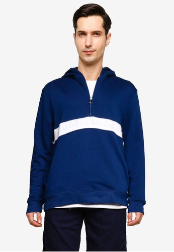 b3d39171ada8 Guess blue Guess Embroidered Logo Color-Block Hooded Sweatshirt  93932AA6AFE96FGS_1