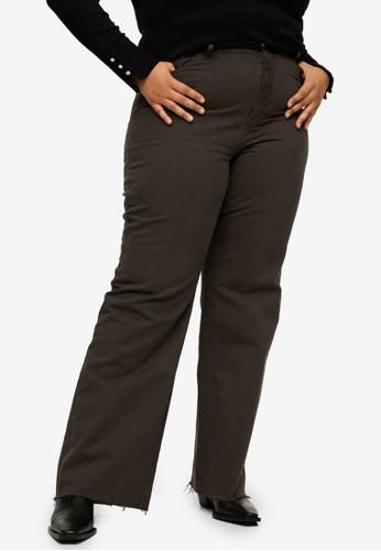 Violeta by MANGO green Plus Size High-Waist Straight Trousers 64C18AA1A34147GS_1