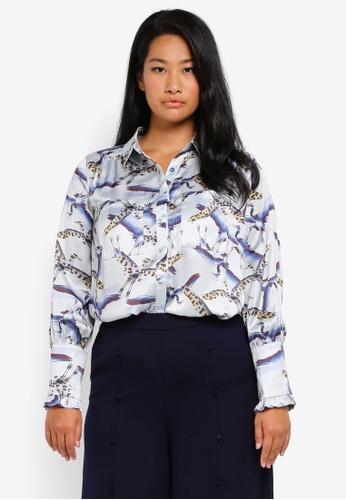 LOST INK PLUS multi Plus Size Shirt In Leopard Bird Print LO776AA0SZ4ZMY_1