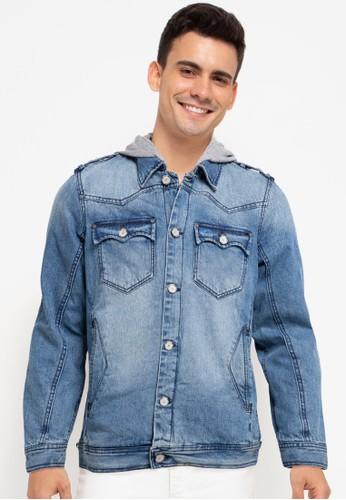 Cardinal blue Denim Jacket With Hoodie 71513AA591D2F5GS_1