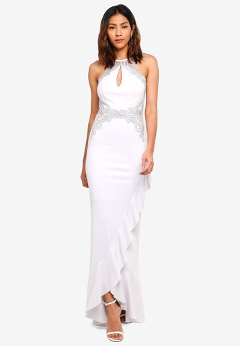 Lipsy silver Silver Halter Frill Skirt Maxi Dress CF2CBAA023FA97GS_1