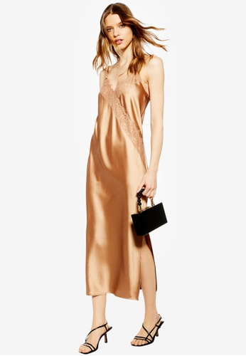 f4fa6221686a0 Buy TOPSHOP Lace Satin Slip Dress Online on ZALORA Singapore
