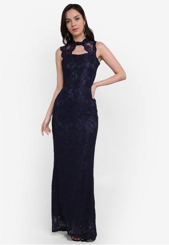 Megane navy Red Romance Carmine Lace Dress 998F4AA1697610GS_1