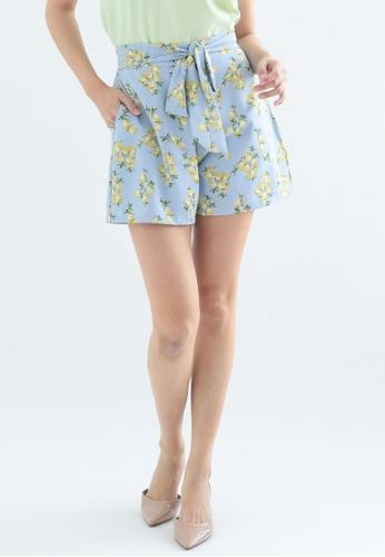 Love Knot black and blue Lemony Self Tie Shorts (Blue) 798A5AA8849B0DGS_1