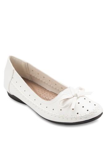 蝴蝶結沖孔esprit 高雄平底鞋, 女鞋, 鞋