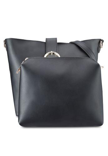 DMK black Buckled Bucket Bag DM860AC14WARMY_1