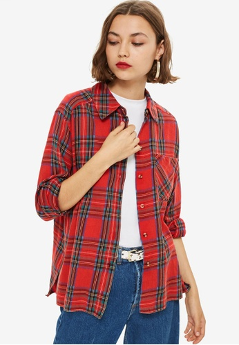 TOPSHOP red Washed Check Shirt CD751AA0059A74GS_1