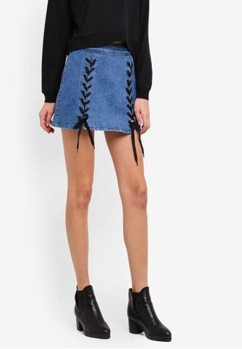 Penshoppe blue Regular Length A-Line Skirt With Lace-Ups PE124AA0SN0HMY_1