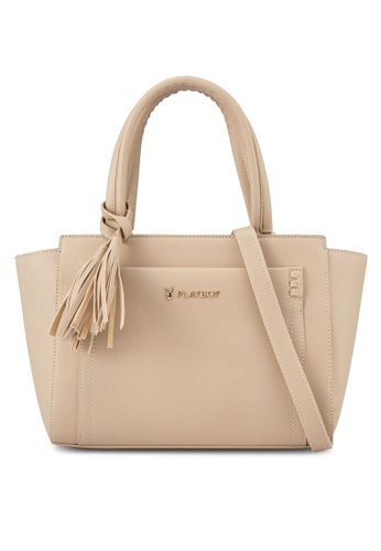PLAYBOY BUNNY beige Playboy Bunny Casual Tote Bag PL604AC19AWMMY_1