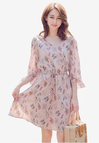 YOCO pink Floral Printed Ribbon Dress AD663AA7256573GS_1