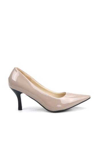 KissXXX 褐色 低反發舒適感美腿效果7CM小尖頭高跟鞋 KI603SH09MPUTW_1
