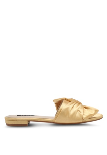 ZALORA gold Satin Slip-On Sandals DA588SHF75B0C3GS_1
