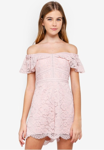 Forever New pink Phoebe Lace Off Shoulder Playsuit 88C26AAC9CEB51GS_1