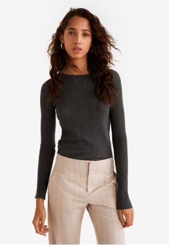 MANGO grey Ribbed Fine-Knit Sweater 76162AABBDC41FGS_1