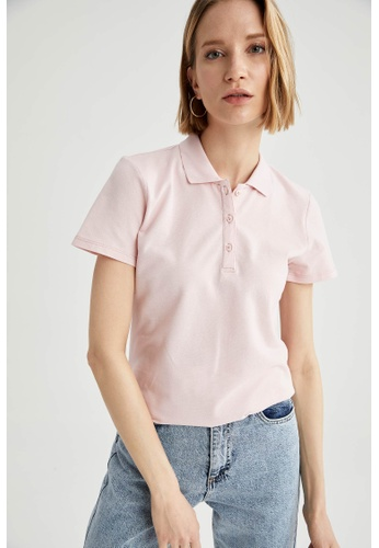 DeFacto pink Woman Knitted Short Sleeve Polo T-Shirt ED505AABBE38C9GS_1