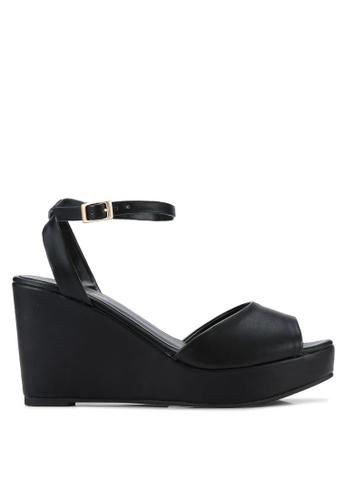 ZALORA 黑色 露趾繞踝楔型鞋 7F043SH384BA47GS_1