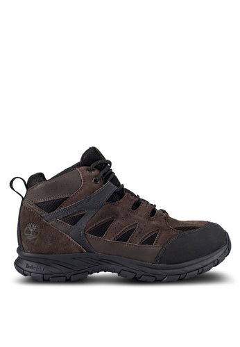 Timberland brown Sadler Pass Waterproof Leather And Fabric Mid Boots TI063SH0RP7JMY_1