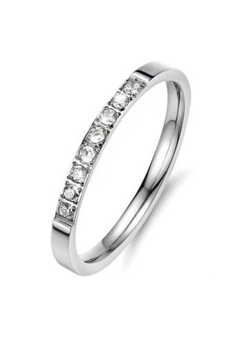 YOUNIQ silver YOUNIQ Half Circle Brilliant Cut Diamante Titanium Band Ring in Silver as ROM Engagement Wedding Party Ring 825EDACB0E69FBGS_1