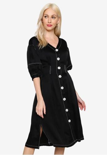 Hopeshow black Contrast Stitch V-Neck Knee Length Dress 656F1AAACC6A51GS_1