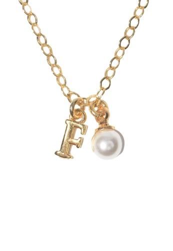 PSYNDROME gold Personalised Initial Letter Alphabet with Pearl Necklace - F 5FFE9ACBDA14EDGS_1