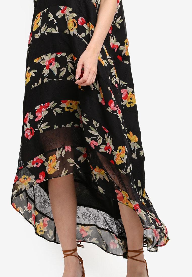 Maxi Lace Print Black Borrowed Base Dress Something Dip Tiered Hem wpq4x4B