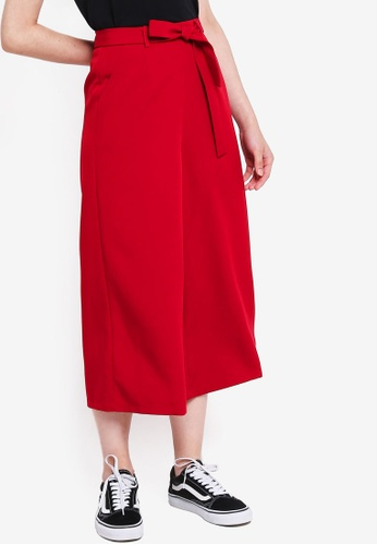 Something Borrowed red Culottes Pants With Self Tie 66FF9AA6C8D850GS_1
