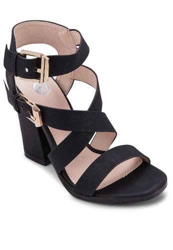 雙扣環多帶粗跟涼鞋, esprit outlet 台灣女鞋, 鞋