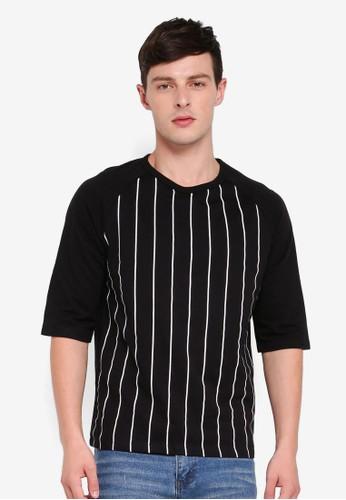 MANGO Man black Striped Cotton T-Shirt F381EAA88DE6F3GS_1
