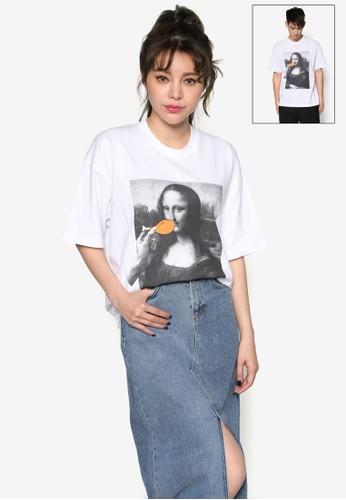 蒙娜麗莎圖案esprit手錶專櫃T 恤, 服飾, 上衣