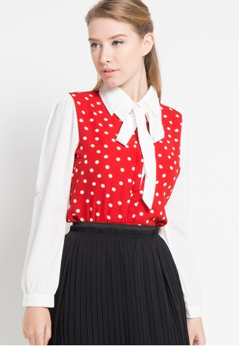 FAME red Polcadot Neck Tie Blouse FA157AA69QPYID_1