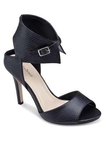 zalora 泳衣蛇紋繞踝露趾高跟鞋, 女鞋, 鞋
