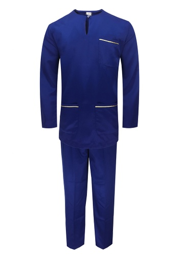 Pacolino blue Baju Melayu Teluk Belanga with pants For Kids - BM37015 (Blue) 34449KAAE34184GS_1