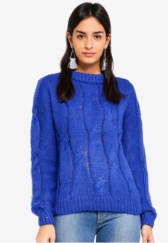 Vero Moda blue Wine O-neck Cable Sweater 9092FAA6CAF78CGS_1