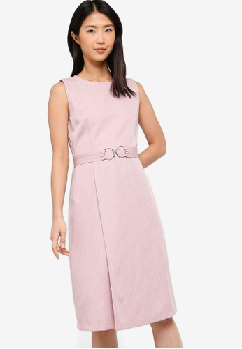 ZALORA BASICS pink Basic Belted Midi Dress 70F3EAAACEC27FGS_1